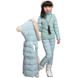 Parkas enfants manteau filles costume de neige hiver fourrure à capuche en duvet veste + pull + pantalon de neige 3 pièces ensemble chaud ? partir de fabricateur