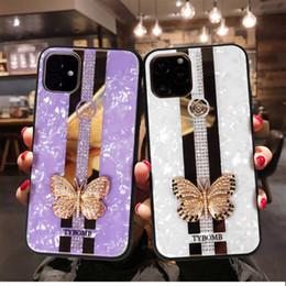 2019 iphone rückseitige abdeckung schmetterling Luxus-Diamant-Schmetterlings-Telefon-Kasten für iPhone 11 Pro Max XS MAX XR X 6 7 8 Plus Bling Shell-Muster-rückseitige Abdeckung günstig iphone rückseitige abdeckung schmetterling