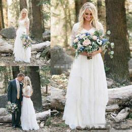 robes dentelle Rabatt Western Country Brautkleider Lace Chiffon Modest V-Ausschnitt Halbarm Lange böhmische Brautkleider Plus Size Robe de mariée en dentelle