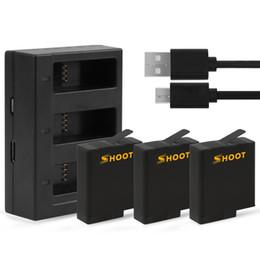 Cámara gopro hero online-Cámara de la batería 3pcs con tres puertos USB Cargador de batería para GoPro Hero 7 6 5 Negro