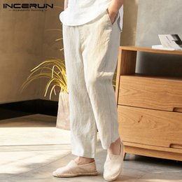 ab3b23ba74 INCERUN Men's Wide Leg Trousers Loose Summer Drawstring Bodybuilding Cotton  Casual Thin Section Men's Large Size Beach Pants 5XL