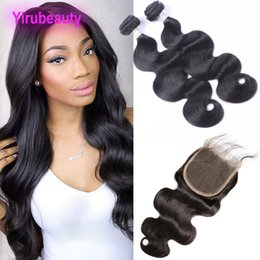 virgin 5x5 closure Promo Codes - Peruvian Virgin Hair 2 Bundles With 5X5 Lace Closure Natural Color Body Wave 9A Human Hair Extensions With 5*5 Closure With Baby Hair 8-30""