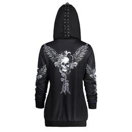 2019 hoodies para crânio feminino Crânios Asa Imprimir Womens Zipper Cardigan Coats Hoodies Casual Sportswear moletom com capuz Mulher solta Tops Hoodies desconto hoodies para crânio feminino