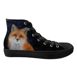4eef8044026 Customized Cool Animal 3D Fox Prints High Top Women Flats Shoes Casual  Canvas Sneakers Ladies Galaxy Breathable Vulcanize Shoes