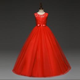 robes de soirée chez les adolescentes Promotion 5-14 ans filles haut de gamme partie de mariage en dentelle robe de demoiselle d'honneur vêtements robes de princesse adolescente robes de soirée en tulle rouge Y19061701