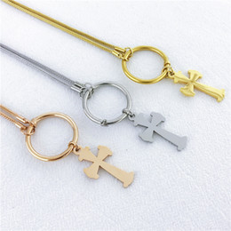 Ожерелье из медведя онлайн- Stainless Steel Necklace For Women Lover's Gold And Silver Color Chain Cross Bear Necklace Gold Cross Religious Jewelry