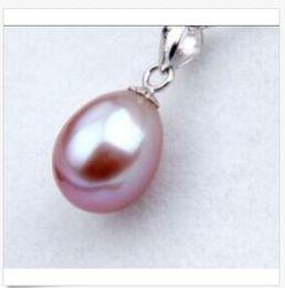 Perlas naturales de lavanda online-ENCANTO 10-12MM NATURAL SOUTH LAVENDER GOTA PERLA COLGANTE 14k COLLAR