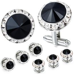 cristal de smoking Desconto AMITER Mulit-Cores Crystal Cuff Links e Studs Set para Mens Tuxedo Shrit Acessórios Do Casamento