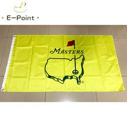 Banderas amarillas online-The Masters Pin Yellow Flag 3 * 5ft (90cm * 150cm) Decoración de poliéster que vuela en el jardín de su casa