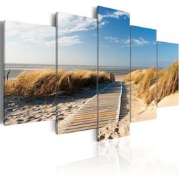 (No Frame) 5 Pz / set Moderna Paesaggio Spiaggia Selvaggia Art Print Frameless Tela Pittura Immagine Della Parete Della Decorazione Della Casa da pitture a olio di pappagallo fornitori