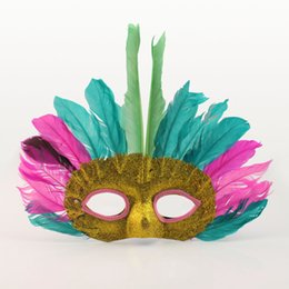 face mask animal for kid Promo Codes - kids children Halloween show props party mask Indian mask prom feather mask (colors randomly) H58