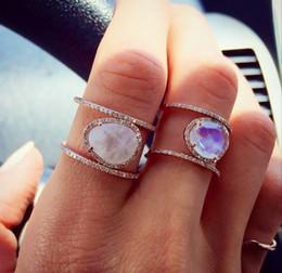 Diamante di pietra lunare online-Squisito anello in argento sterling 925 Natural Moonstone 14K Pure Rose Gold Diamond Party Fidanzamento Fede nuziale Impilabile Taglia 5 - 12