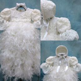 Robes de baptême plume en Ligne-Baptême De Luxe Robes Plumes Sequins Infant Toddler Baptême Bébé Robes Longues Fleur Filles Kid Première Communication Dress