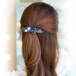 Fermagli per capelli in cristallo retro in lega blu - Fermagli per capelli a forma di fiore vintage da donna a forma di fiore Accessori per lo styling dei capelli Barrette da