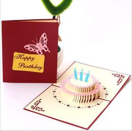 Детские открытки ручной работы онлайн-3D день рождения красочный торт подарочная карта дети взрослый универсальный ручной работы творческий бабочка бумага резьба полые поздравительные открытки