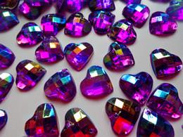 100pcs 14mm heart shape purple Sew on rhinestones flatback Acryl crystals  accessory gemstone strass beads d521d341baca