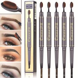 Spazzole del tatuaggio online-CmaaDu Matita per sopracciglia con pennello Double Head Penna sopracciglio Impermeabile a lunga durata Pigment Tattoo Pen Eye Makeup