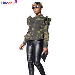 più abbigliamento donne camouflage abbigliamento Sconti Plus Size Camouflage Jacket Donna Abbigliamento Primavera Peplum Bomber Jacket Autunno Steetwear manica lunga Casual Camo Coats