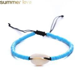 braceletes de contas de verão Desconto Handmade Trançado Shell Pulseira Para Homens Mulheres Multi Color Resina Bead Woven Pulseira com Shell Férias de Verão Praia Jóias Ajustável