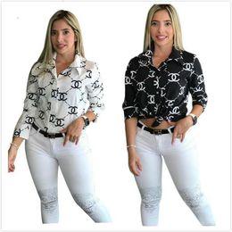 camisa de impressão gravata Desconto Designer Blusas Carta Imprimir Moda Mulheres Senhoras Casual botão Front Office laço Neck manga comprida magros Shirts Tops S-XXL 3665