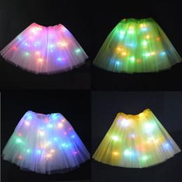 niños vestirse Rebajas Los niños de baile de cumpleaños llevó luces tutu faldas del partido de malla para el rendimiento Sexy Light Up Ball Mini Tutu Fancy Dress llevó el partido 5 pcs