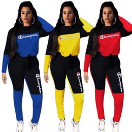 bikini jaune boho Promotion Femmes Champion Survêtement Patchwork de vêtements Set Pantalons manches longues sweat à capuche Leggings Marque Outfit Automne Vêtements de sport S-2x 8066