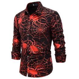 Camisa de poliéster hombre araña online-Los hombres de moda de ropa de Halloween araña 3D del botón de impresión de manga larga de cuello de apertura de cama Casual poliéster delgado apto de las camisas una junta las piezas