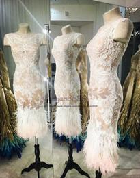 Projetos das penas dos vestidos on-line-Ziad nakad 2019 bainha Prom Vestidos sheer lace apliques com pena de avestruz projeto Formal Vestidos de Festa sexy Árabe Saudita vestidos de noite