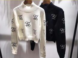 2019 коричневый вязаный пончо 2019 осени и зима новой вышивка Ff письмо короткой куртки темперамент дикого свитер свитер Wom