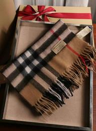 2019 grauer fransenschal Wholesale-High Qualtiy Größe 180x30cm 100% Kaschmir Schals Euro Brand Französisch Design Schals Frauen Geschenk Square Schals ohne Box