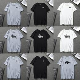 2019 plus größe naruto kostüme Sommer T-Shirt Herren Designer schwarz T-Shirts Women2019 Sommer Herren T-Shirt schwarz weiß blau grau Rundhals T-Shirt Buchstaben drucken Hip Pop Rapper