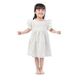 Çocuklar Trendleri Giyim Toptan Bebek Giysileri Şerit Baskı Flutter Kollu Çocuk Elbise Toddler Kız Yaz Elbiseler nereden
