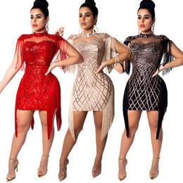 Moda Sexy Paillette Vestido Club Nocturno de Lentejuelas Borla Brillante Vestido de Fiesta Paquete de Nalgas Compruebe Falda Tight Para las mujeres desde fabricantes