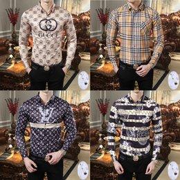 2019 camisas de los hombres de la moda europea Camisas de hombre casual imprime la solapa de lujo delgadas camisa de manga larga de Europa y América Marca tendencia de la moda camisa de los nuevos hombres libres Logística camisas de los hombres de la moda europea baratos