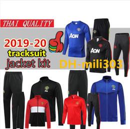 Тренировочные костюмы для бега трусцой онлайн-2019 2020 манчестер куртка спортивный костюм Survetement 19 20 POGBA RASHFORD LUKAKU футбольный тренировочный костюм куртка UNITED Jogging chandal futbol