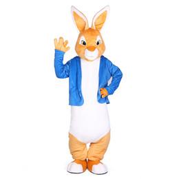 Costume complet de mascotte de lapin en Ligne-Peter Rabbit Mascot Costumes Mascotte De Noël Unisexe Costume Déguisement pour adulte complet costume Hallween Pourim partie