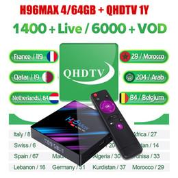 Caja de tv android árabe online-H96 Max 4 GB de RAM 64 GB ROM con QHDTV suscripción 1 año para la televisión árabe francesa de Europa Alemania Italia África H96Max cuadro reproductor multimedia androide