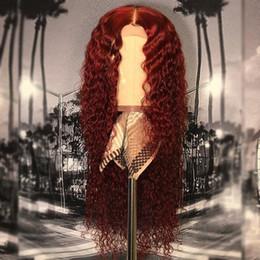 2019 burgund rote haarfarbe Burgunder Menschenhaar Spitzeperücken 99J Weinrot Farbe Haar Lace Front Perücken Pre Gezupft Brasilianische Wasser Wellenförmige Menschenhaarperücke günstig burgund rote haarfarbe
