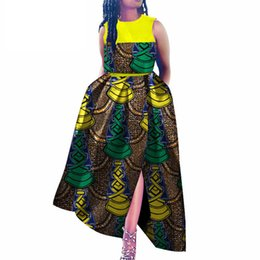 Argentina Vestidos africanos para mujeres Tallas grandes Cera Batik Bazin Ankara Vestidos de color a juego Danshiki a media pierna de impresión africana supplier african batik dresses Suministro