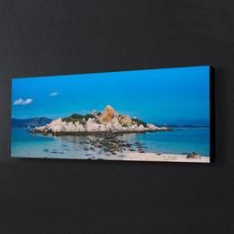 CAPICS Long 3: 1 Telaio Stampa su tela per Office Beach Island Nature Landscape Casa Pronto parete di caduta Hang Art Poster incorniciato da