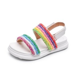 zapatos brillantes niños Rebajas 2019 Nuevos zapatos para niños Rainbow Sandals Girls Shiny Summer Shoes Sandalias de playa para niñas Princesa Kids
