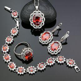 2019 collar esmeralda de la boda fija Red Cubic Zirconia 925 Kits de joyas de plata para las mujeres Accesorios Aniversario Pendientes / Anillo / Pulsera / Collar / Colgante Conjuntos