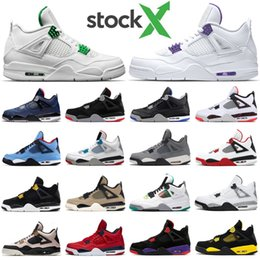 sports fire Promo Codes - Mens basketball shoes 4s Pine Green University Red Black Cat Bred Fired Red Cactus Jack Neon 4 men trainer fashion sports sneakers