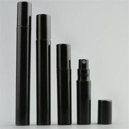 Muestras de perfume botellas de plástico online-2ML vacío 3ML 5 ML 10 ML Mini Negro plástico de la botella de perfume del aerosol pequeña muestra de Promoción atomizador del perfume