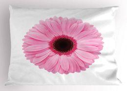2019 piante da giardino primaverile Cuscino rosa e bianco Sham Fresh Gerber Daisy Garden Piante di crescita primaverile Fiore singolo Immagine Decorativa King Size Federa piante da giardino primaverile economici