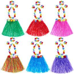 Cintas para el pelo hawaiano online-Kids Hawaiian Grass Skirt Garland Diadema Hula Fancy Falda 5 UNIDS Set 40 cm Fiesta Festival Decoración Ropa de Interpretación
