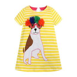 battesimo bambino avorio Sconti Baby Girl Cotton Summer Dress Fiori Striped dog Party Dress manica corta Cute Girl Dress con Appliques Designer Kids Clothes