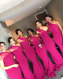 Um ombro preto vestidos de noite on-line-Preto Gilrs sereia Fuschia dama de honra vestidos 2019 de um ombro até o chão vestidos de noite Empregada doméstica de honra Vestidos BM0861