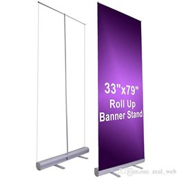 """Estandes de exibição de banner on-line-Atacado 33 """"x 79"""" retrátil Roll Up Banner Display Display alumínio sinal de promoção para conferência e comércio Visualizar"""