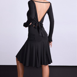 Vestiti da ballo latino online-Sexy Backless Latin Dance Dress per le donne Black Ballroom Cha Cha Samba Rumba Pratica Dance Wear Tango Training Clothes
